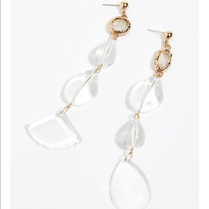 Free people crystal clear asymmetrical earring NWT